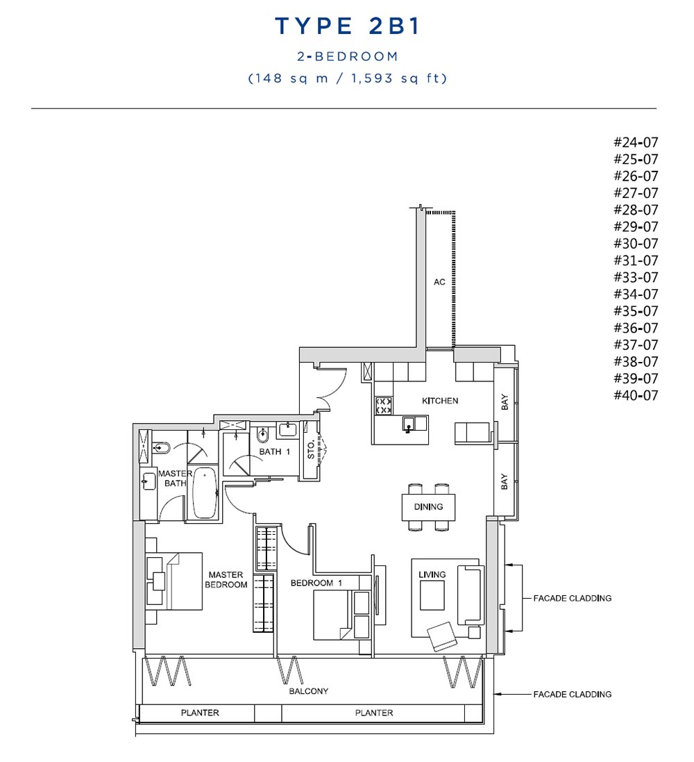 South Beach Residences 2 Bedroom 2 B1
